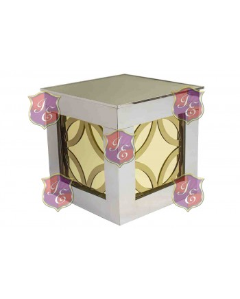 Reflection Ottoman Laser Cut (Circles Gold) (Silver)