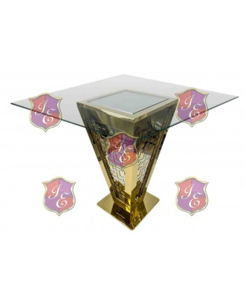 "Reflection Highboy Table Pyramid (Gold) 60"" x 60"""