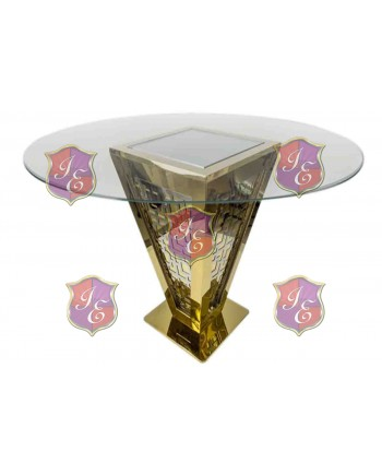 "Reflection Highboy Table Pyramid (Gold) 60"" D"