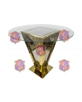 "Reflection Highboy Table Pyramid (Gold) 48"" D"