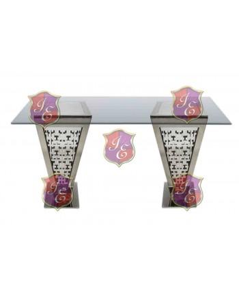 "Reflection Highboy Table Pyramid (Silver) 48"" x 96"""