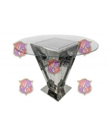 "Reflection Highboy Table Pyramid (Silver) 48"" D"