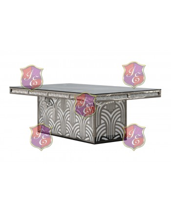 "Reflection Dining Table (Artdeco-Base) (Silver) 96"" x 48"""