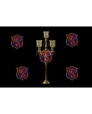"Four Arm Candelabra Crystal Cup (Gold) (47"")"