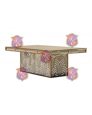 "Reflection Dining Table (Artdeco-Base) (Gold) 96"" x 48"""