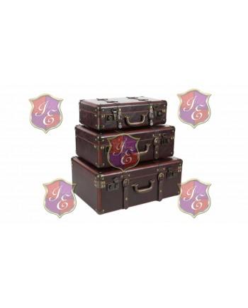 Vintage Leather Suitcase (Set of 3)