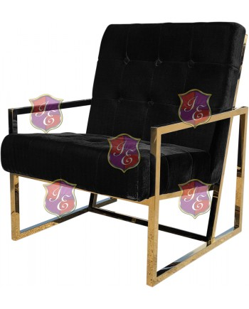 Reflection Rain Armchair (Gold - Black Tufted)