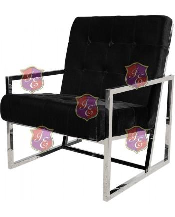 Reflection Rain Armchair (Silver - Black Tufted)