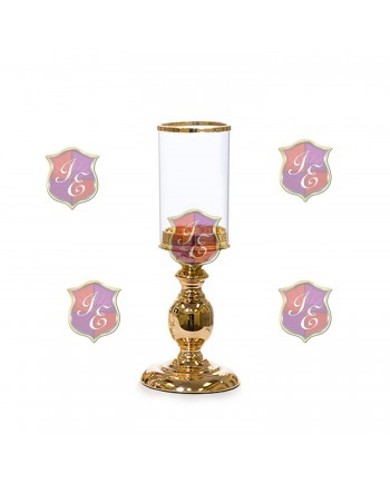 Alexandra Pedestal Candle Holder (Gold) 8''H
