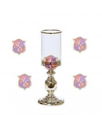 Alexandra Pedestal Candle Holder (Silver) 8''H