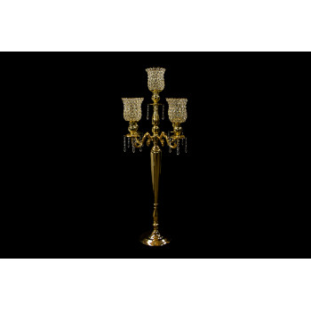 """Four Arm Candelabra Crystal Cup (Gold) (47"""")"""