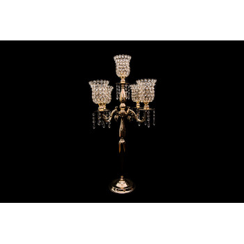 """Four Arm Candelabra Crystal Cup (Old Gold) (32"""")"""