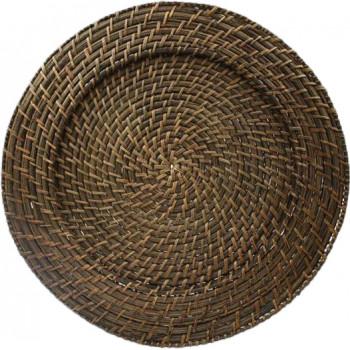 Rattan Charger Plate (Dark Brown) (Round)