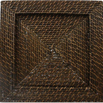 Rattan Charger Plate (Dark Brown) (Square)