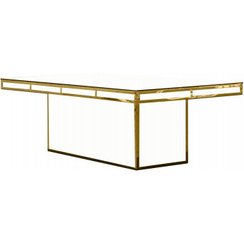 Reflection Dining Table Modern (Gold) (White)
