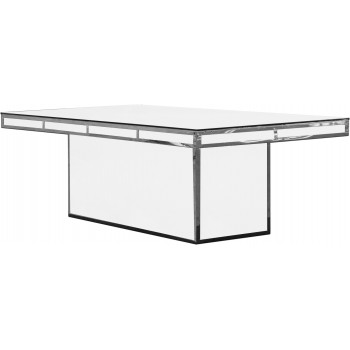 Reflection Dining Table Modern (Silver) (White)