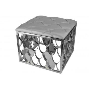 Reflection Ottoman Scallop (Square) (Silver)