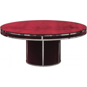 Velvet Dining Table Round (Silver Frame)(Red)