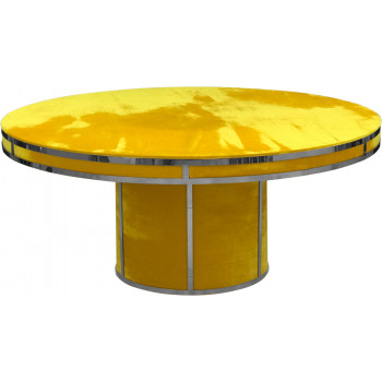Velvet Dining Table Round (Silver Frame)(Yellow)