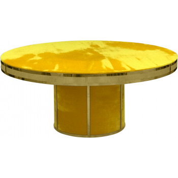 Velvet Dining Table Round Solid (Gold Frame)(Yellow)