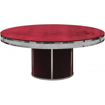 Velvet Dining Table Round Solid (Silver Frame)(Red)