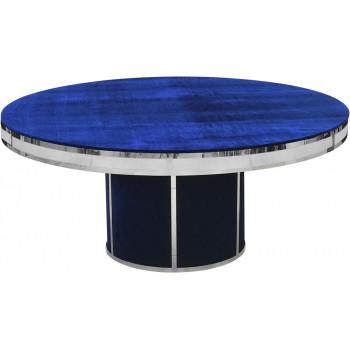 Velvet Dining Table Round Solid (Silver Frame)(Royal)