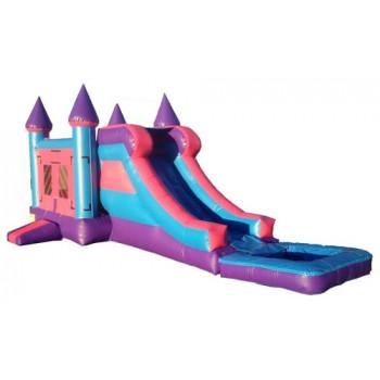 Pink 4x1 Water-slide Castle 15'x32