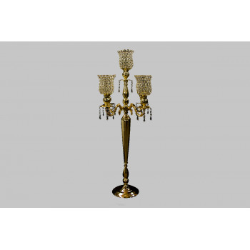 """Four Arm Candelabra Crystal Cup (Old Gold) (42"""")"""