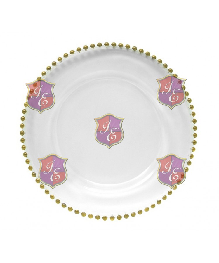 Glass Beaded Charger Plate (Gold Beaded)