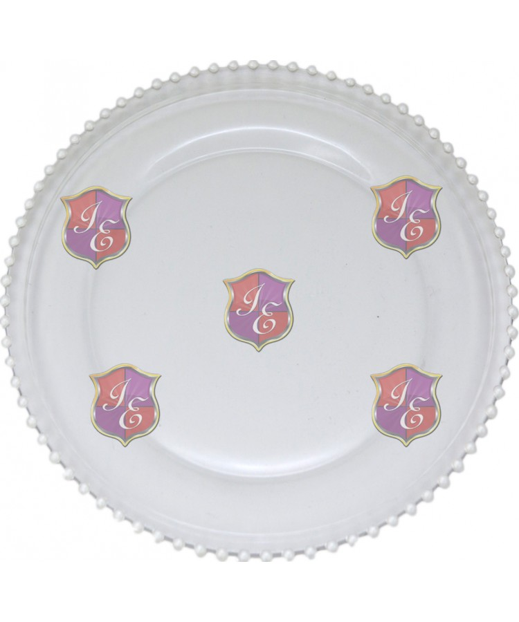 Glass Beaded Charger Plate (Pearl Beaded)