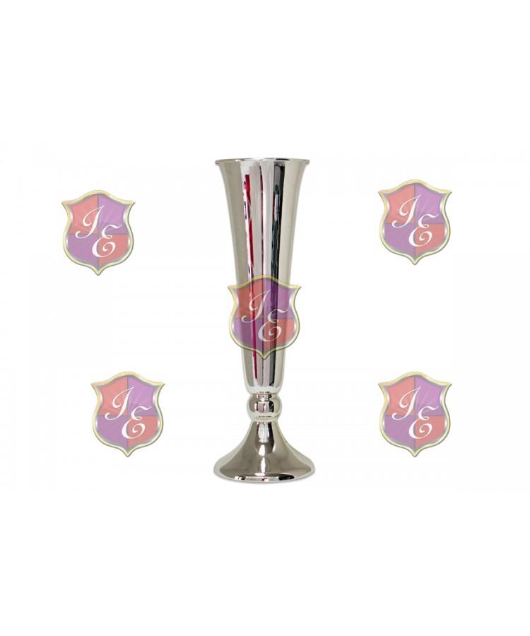 """Flower Pedestal 010 (15""""H) (Silver)"""