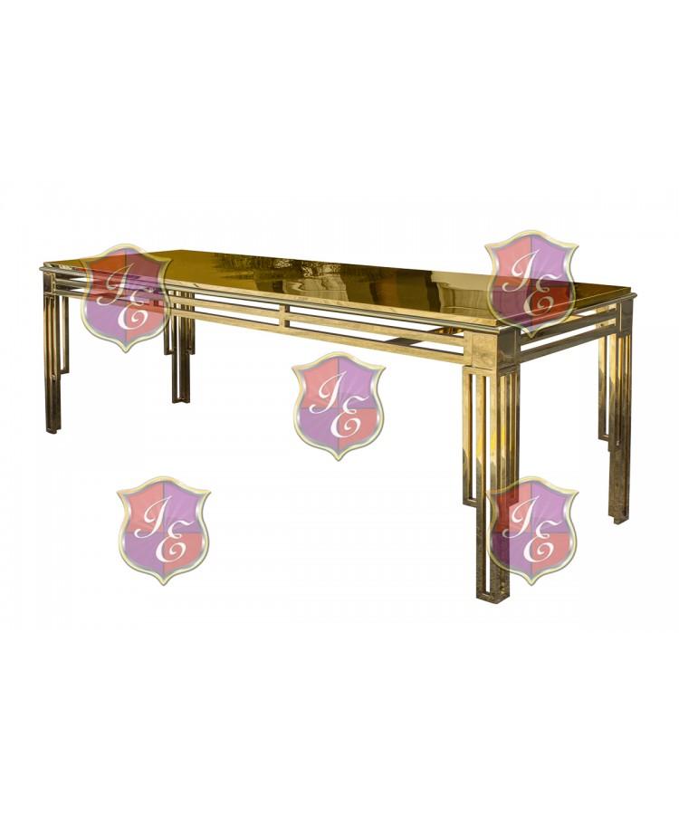 "Reflection Dining Table ArtDeco (Gold) 30"" x 96"""