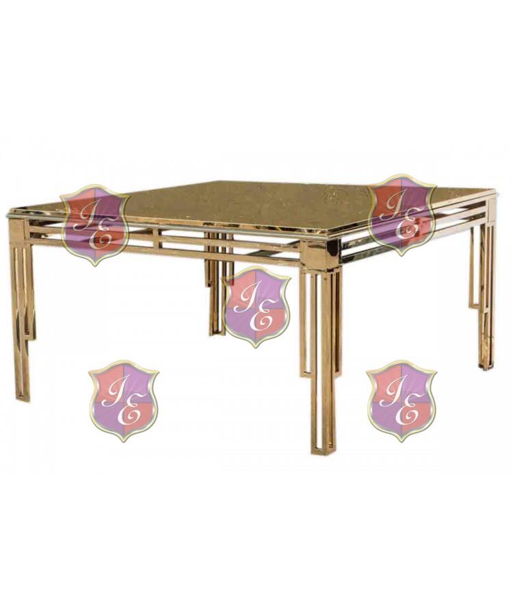 "Reflection Dining Table ArtDeco (Gold) 60"" x 60"""