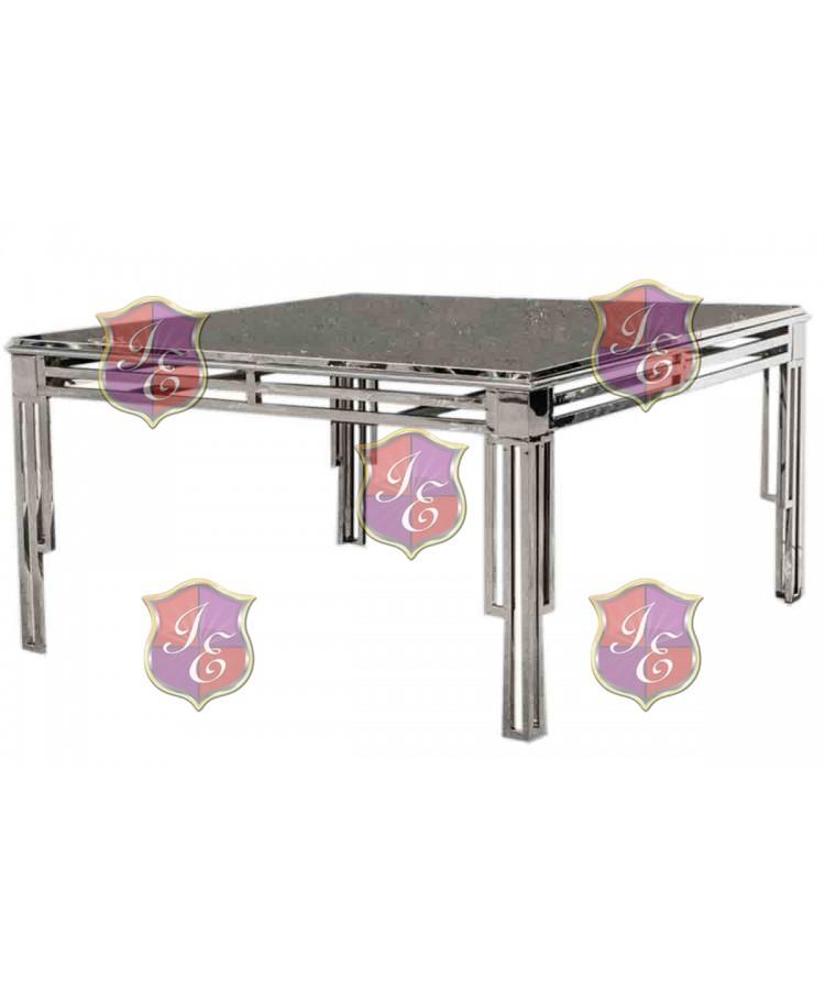 "Reflection Dining Table ArtDeco (Silver) 60"" x 60"""