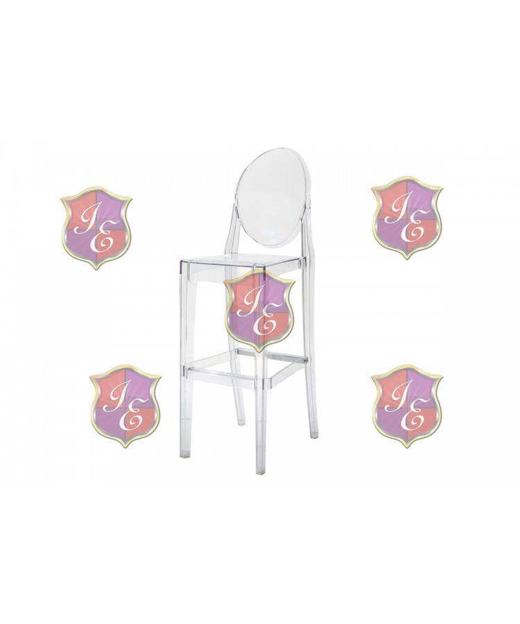 Ghost Barstool With Back (Clear)