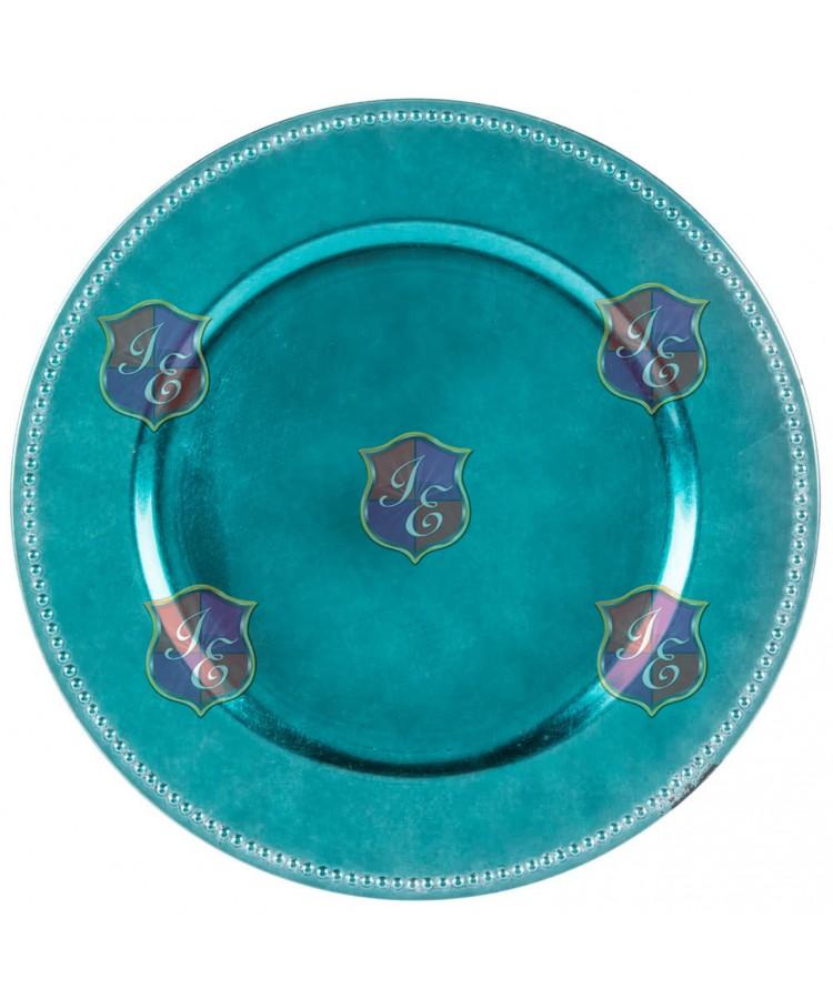 Beaded Rim Charger Plate (Aqua)