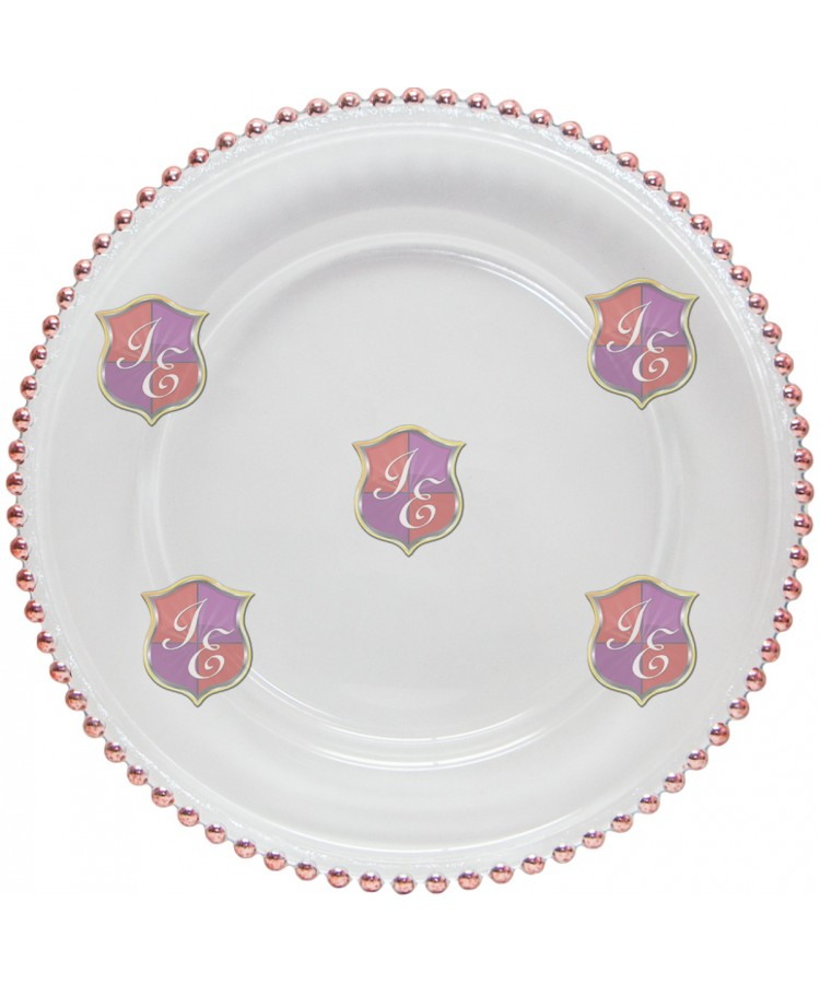 Glass Beaded Charger Plate (Rose Gold)