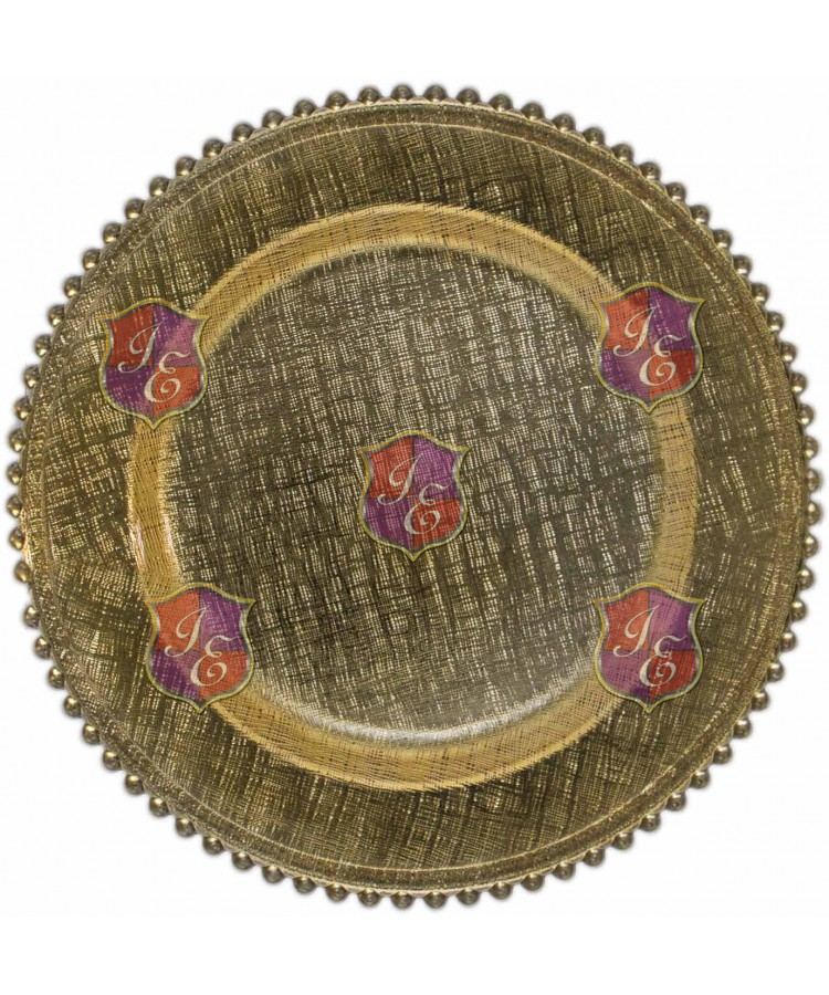 Glass Plus Beaded Charger Plate (Gold)