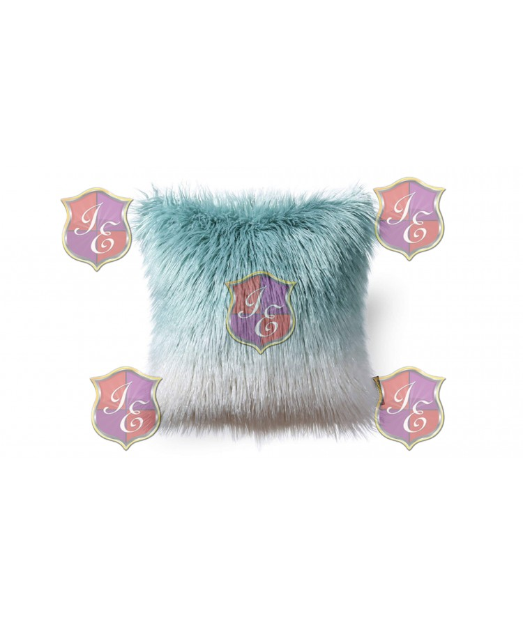 Faux Fur Pillow (White and Blue)