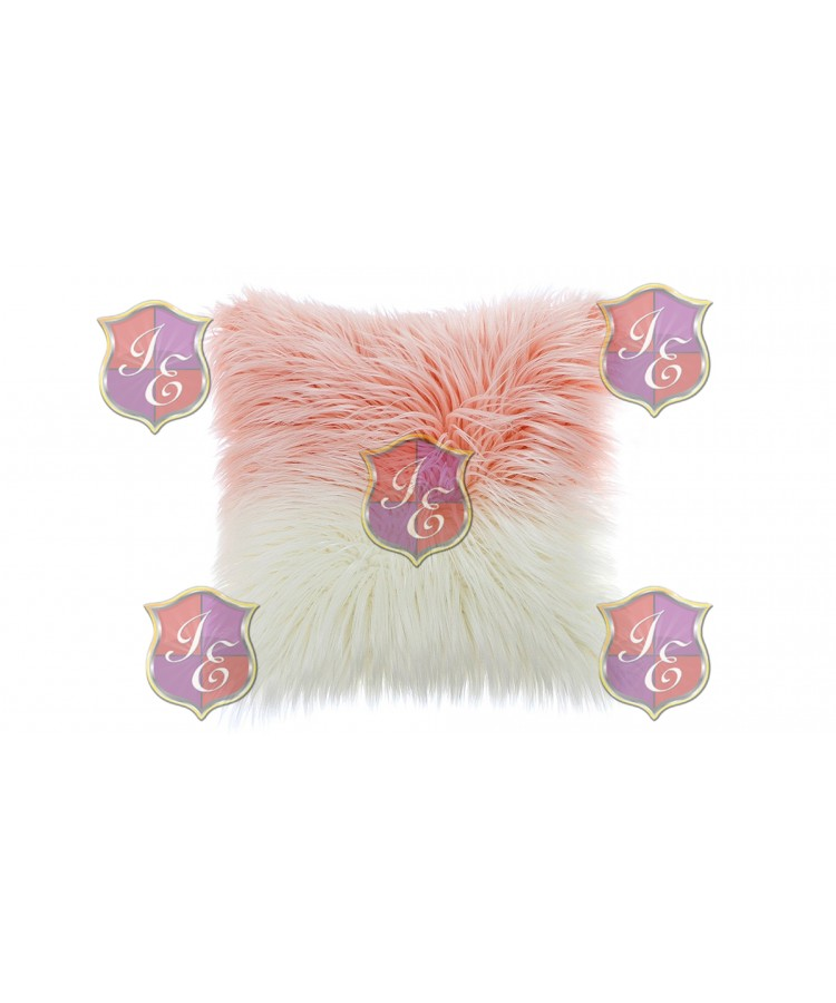 Faux Fur Pillow (White and Pink)