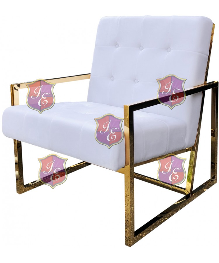Reflection Rain Armchair (Gold - White Tufted)