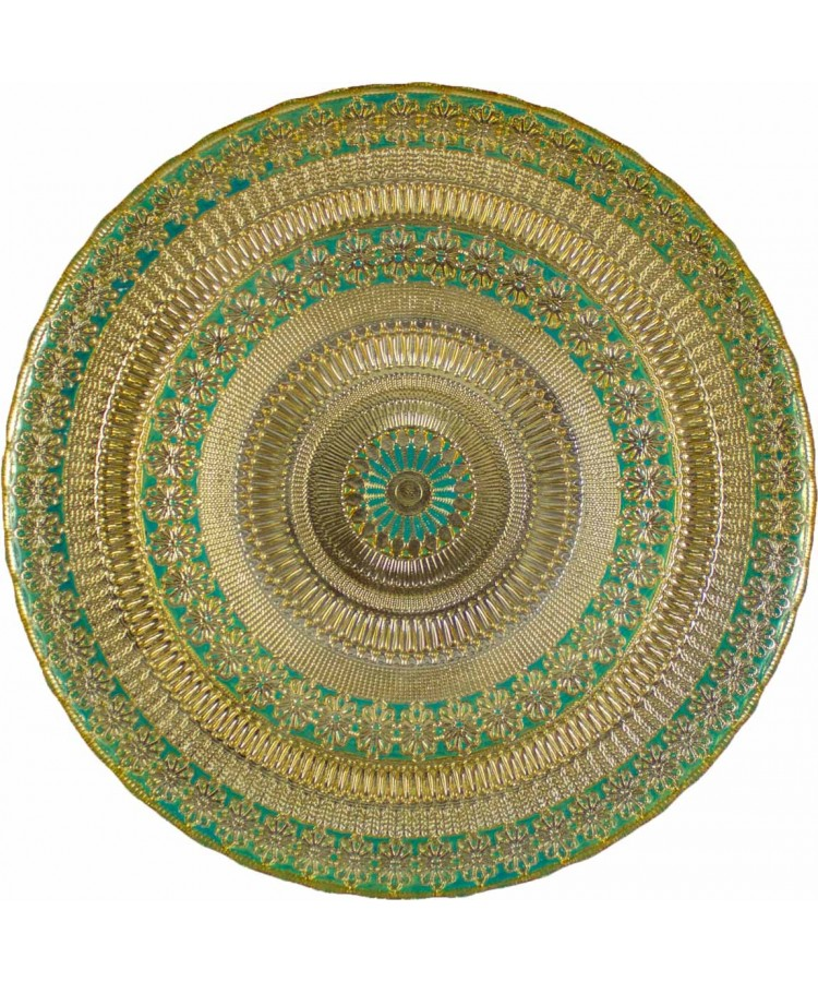Agra Charger Plate (Aqua and Gold)