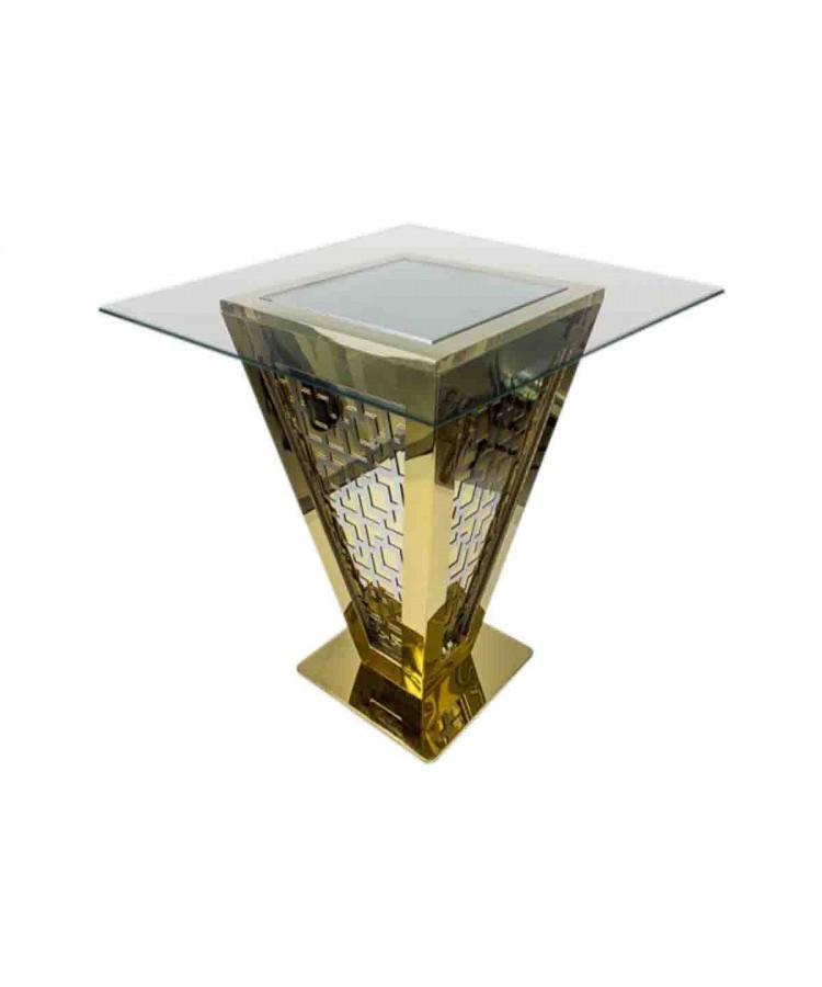 "Reflection Highboy Table Pyramid (Gold) 48"" x 48"""